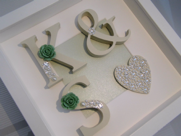 Initial Box Frame Mint Rose